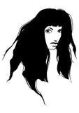 Droevig donkerbruin meisje Vector Illustratie