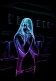 Droevig emojong geitje, neon Stock Afbeeldingen