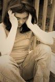 Droevig gedeprimeerd tienermeisje Stock Foto