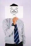 Droevig het Gezichtsmasker van zakenmanWearing Royalty-vrije Stock Afbeeldingen