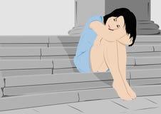 Droevig meisje stock illustratie