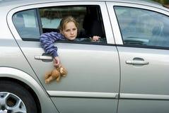 Droevig meisje in auto Royalty-vrije Stock Fotografie