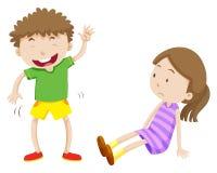 Droevig meisje en gelukkige jongen royalty-vrije illustratie