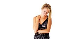 Droevig Meisje in Kleding op Wit royalty-vrije stock foto's
