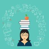 Droevig meisje met boeken Royalty-vrije Stock Foto's