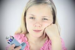Droevig Meisje met het Inhaleertoestel van het Astma Royalty-vrije Stock Afbeelding
