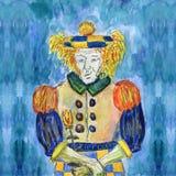 Droevig met een bloem in zijn handen royalty-vrije illustratie