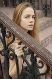 Droevig mooi gezicht van vrouw Stock Fotografie