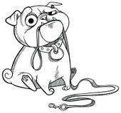 Droevig Pug Puppy royalty-vrije illustratie