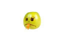 Droevig smileykwaad uit de appel Gevoel, houdingen stock foto's