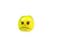 Droevig smileykwaad uit de appel Gevoel, houdingen stock foto