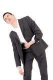 Droevige bedrijfsmens die pijn, maagpijn hebben. Stock Foto