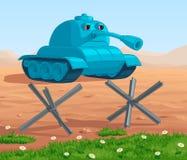 Droevige beeldverhaal blauwe tank op de achtergrond van de woestijn achter een groene open plek Royalty-vrije Stock Foto