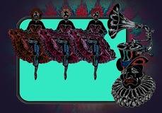 Droevige clown in een van de gramophonhoed en cancan dansers Stock Foto's