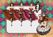Droevige clown in een van de gramophonhoed en cancan dansers Royalty-vrije Stock Foto