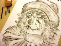 Droevige clown met scheuren vector illustratie