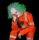 Droevige Clown op Zwarte Achtergrond stock foto