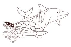 Droevige die dolfijn en schildpad in zwart-wit wordt geplakt vector illustratie