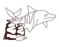 Droevige dolfijn met vuilniszakken in zwart-wit stock illustratie