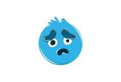 Droevige Emoticon op wit voor Mobiel en Web Stock Fotografie