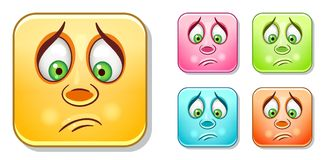 Droevige Emoticons-Inzameling royalty-vrije illustratie