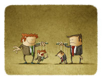 Droevige en gelukkige zakenlieden met het hangen van marionetten royalty-vrije illustratie