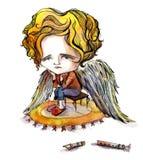 Droevige engel Royalty-vrije Stock Afbeelding