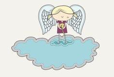 Droevige engel in het rouwen op wolk Royalty-vrije Stock Foto