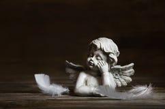 Droevige engel met witte veren op een donkere achtergrond voor bereaveme Stock Afbeelding
