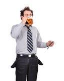 Droevige gedronken zakenman royalty-vrije stock foto