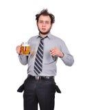 Droevige gedronken zakenman royalty-vrije stock fotografie