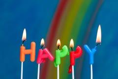 Droevige gelukkige verjaardagskaarsen Stock Foto's