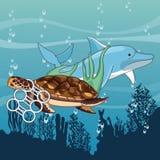 Droevige geplakte dolfijn en schildpad royalty-vrije illustratie