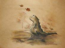 Droevige groene dinosaurus Royalty-vrije Stock Afbeeldingen