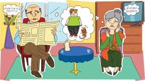 Droevige grootouders en hun kleinkind Stock Afbeelding