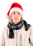 Droevige Jonge Mens in Santa Hat Stock Foto's