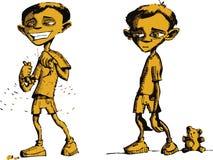 Droevige jongen en gelukkige jongen Stock Afbeeldingen