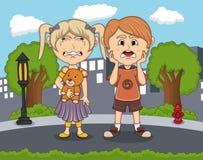 Droevige jongens en meisjes die in de straat met stads achtergrondbeeldverhaal schreeuwen royalty-vrije illustratie