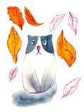 Droevige kat in de herfstbladeren Waterverf leuke kat op de witte achtergrond Waterverf grafisch voor stof, prentbriefkaar, groet stock illustratie
