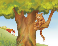 Droevige kat - sprookje royalty-vrije illustratie