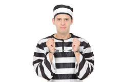 Droevige mannelijke gevangene met handcuffs Stock Foto