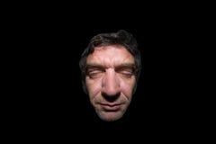 Droevige mens met gesloten ogen Stock Foto