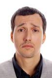 Droevige mens op een witte achtergrond Stock Afbeeldingen
