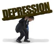 Droevige mensen dragende last van DEPRESSIE zoals zwaar rotsgewicht royalty-vrije stock afbeelding