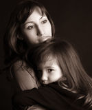 Droevige moeder en dochter Royalty-vrije Stock Foto