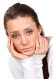 Droevige Onder ogen gezien Vrouw Stock Foto