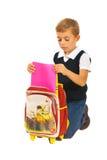 Droevige schooljongen Stock Fotografie