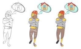 Droevige slechte grootvader Dakloze mens De landloper zoekt toevluchtsoord Dromen over huis stock illustratie
