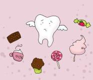 Droevige tand en snoepjes Stock Illustratie