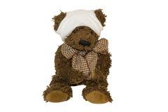 Droevige Teddy met hoofdverwonding royalty-vrije stock afbeelding
